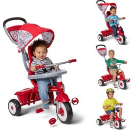 Radio Flyer Ez Quick Fold Stroll 'N Trike Sturdy Steel Frame 4 Ways to Ride Children's Red Trike