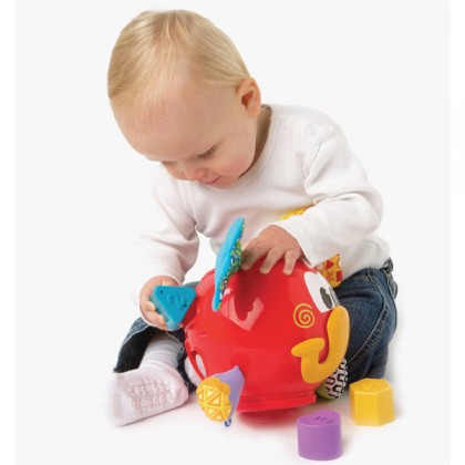 Playgro 0180262 Elephant Shape Sorter, With 6 Shapes, BPA-free, From 12 Months