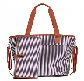 Tiki Tote Sling Diaper Bag (Dark Coffee & White stripe)