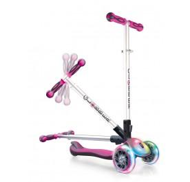 Globber Elite FL (Flash & Light) Wheels Scooter for 3+ - Deep Pink